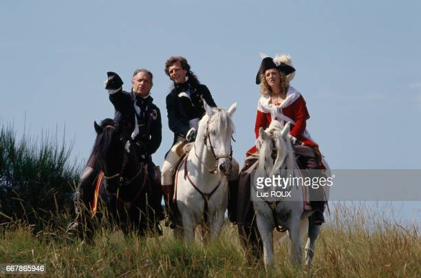 French actors JeanPierre Cassel Stephane Freiss and Charlotte de Turckheim on the set of Chouans directed by Philippe de Broca