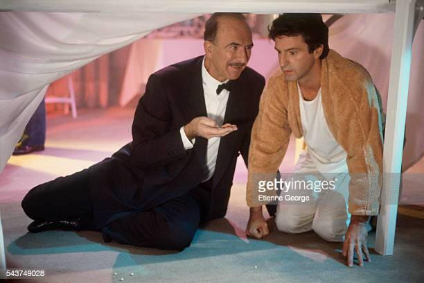 French actors JeanPierre Marielle and Daniel Auteuil on the set of 'Quelques jours avec moi' directed by Claude Sautet based on JeanFrançois...