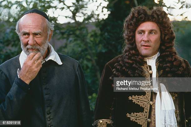 French actors JeanPierre Marielle and Gerard Depardieu on the set of Tous les Matins du Monde written and directed by Alain Corneau