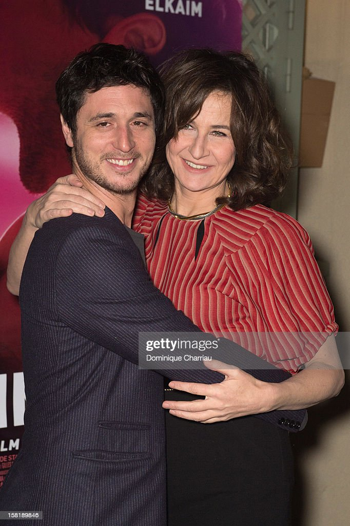 French actors Jeremie Elkaim and Valerie Lemercier attend the 'Main Dans La Main' Paris premiere at Cinema du Pantheon on December 10 2012 in Paris...