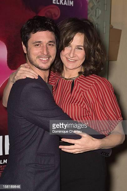 French actors Jeremie Elkaim and Valerie Lemercier attend the 'Main Dans La Main' Paris premiere at Cinema du Pantheon on December 10 2012 in Paris...