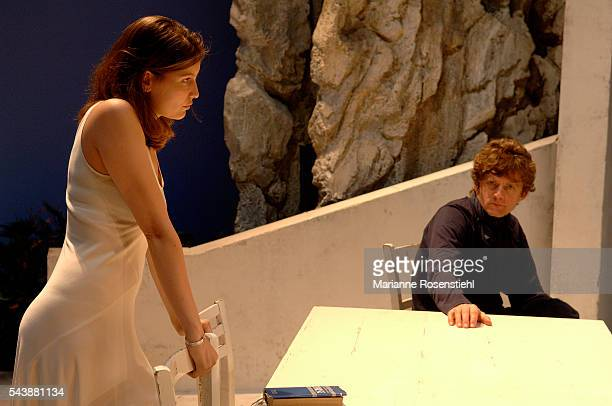French actors Laetitia Casta and Nicolas Vaude during the rehearsals of the play Elle t'attend written and directed by Florian Zeller at the Theatre...