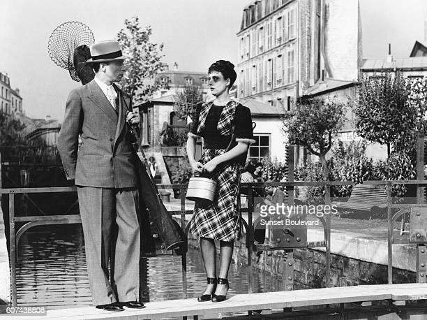 French actors Louis Jouvet and Arletty on set of Hotel du Nord based on the novel by Eugene Dabit and directed by Marcel Carné