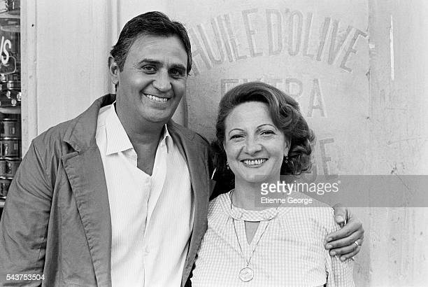 French actors Marthe Villalonga and Roger Hanin on the set of the film 'Le Coup de sirocco' directed by Alexandre Arcady and based on Daniel...