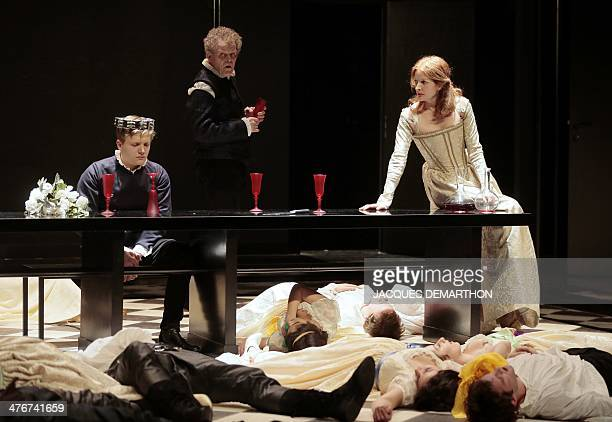 French actors Martin Loizillon as Gennaro Thierry Bosc as Gubetta and Ninon Bretecher princess Negroni perform during the generale of the play...