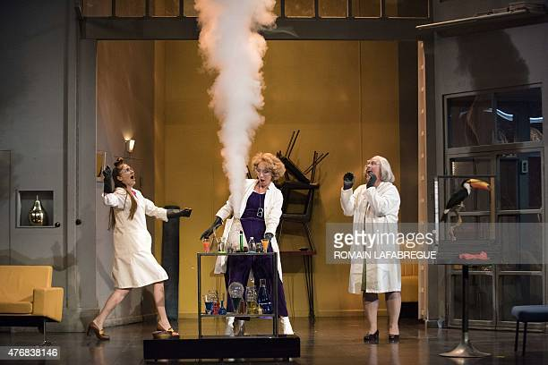 French actors Maud Wyler as Armande and MarieArmelle Deguy as Philaminte and Thomas Morris as Belise perform on stage during the dress rehearsal of...