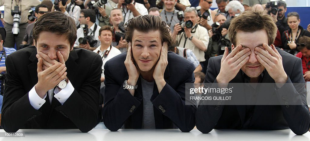 French actors Raphael Personnaz (L), Gaspard Ulliel and Gregoire Leprince-Ringuet pose during the photocall of 'La Princesse de Montpensier' (The Princess of Montpensier) presented in competition at the 63rd Cannes Film Festival on May 16, 2010 in Cannes.