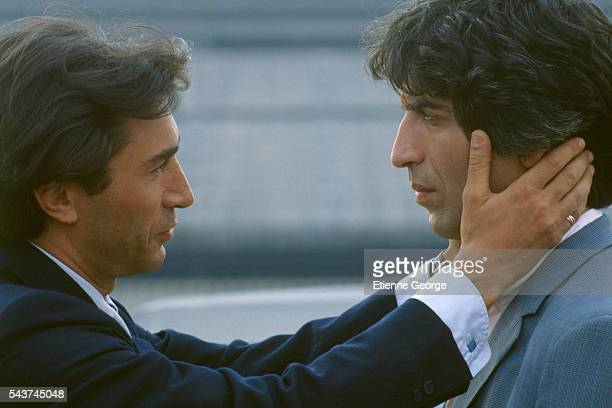 French actors Richard Berry and Gerard Darmon on the set of Le Grand Pardon written and directed by Alexandre Arcady