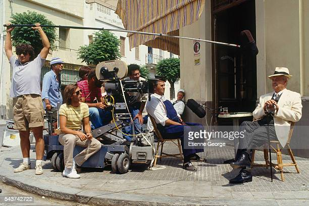 French actors Roger Hanin and actor and writer Jean Pélégri on the set of the film 'Le Grand carnaval' directed by Alexandre Arcady Behind Roger...