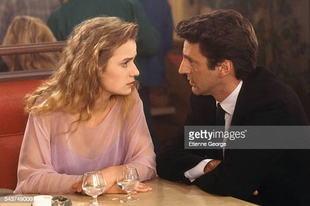 French actors Sandrine Bonnaire and Daniel Auteuil on the set of 'Quelques jours avec moi' directed by Claude Sautet based on JeanFrançois Josselin's...