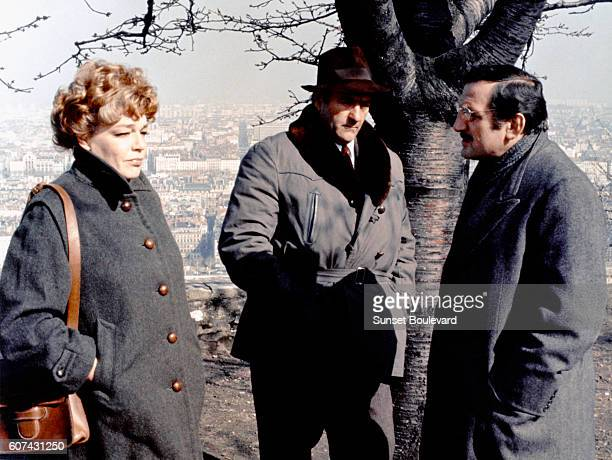 French actors Simone Signoret Christian Barbier and Lino Ventura on the set of L'Armée des Ombres based on the novel by Joseph Kessel and directed by...