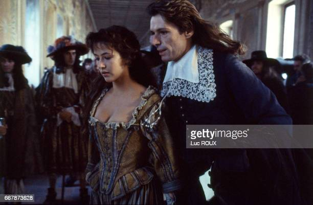 French actors Sophie Marceau and Lambert Wilson on the set of the film Marquise directed by Vera Belmont