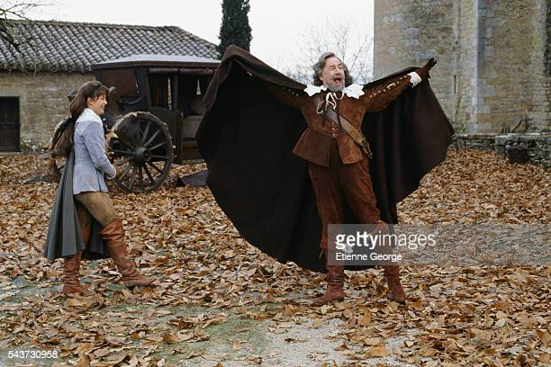 French actors Sophie Marceau and Philippe Noiret on the set of the film La fille de d'Artagnan directed by French director Bertrand Tavernier