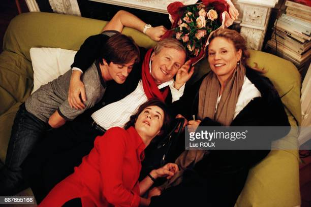 French actors Thomas Dutronc and Claude Rich Swiss actress Marthe Keller and French actress and director Valerie Lemercier on the set of Lemercier's...