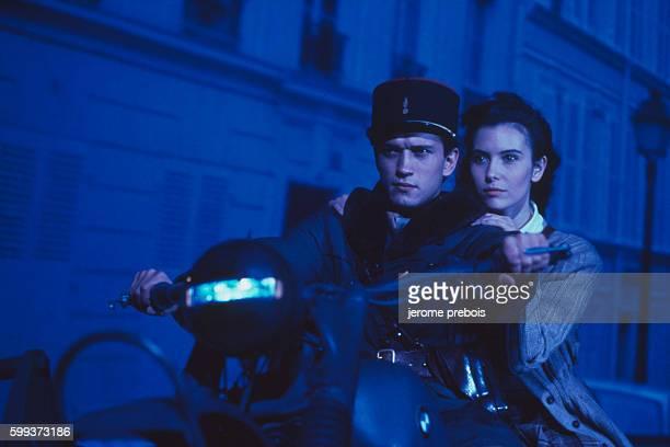 French actors Vincent Perez and Geraldine Pailhas in the film 'La Neige et le Feu' directed by Claude Pinoteau