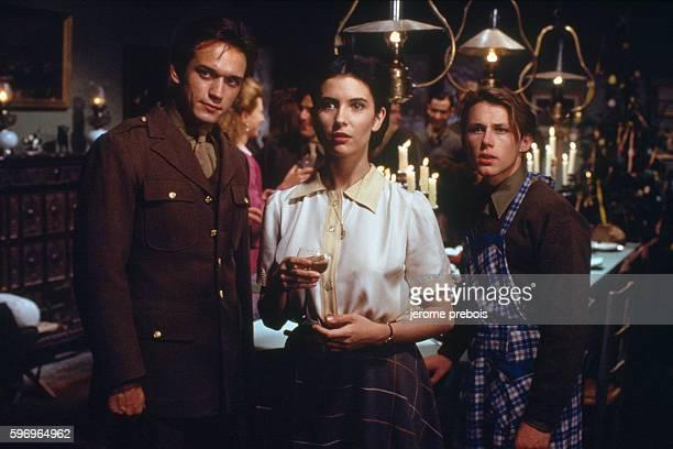 French actors Vincent Perez Geraldine Pailhas and Matthieu Roze in the film 'La Neige et le Feu' directed by Claude Pinoteau
