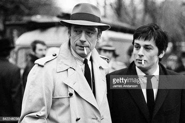 French actors Yves Montand and Alain Delon on the set of Le Cercle Rouge written and directed by JeanPierre Melville