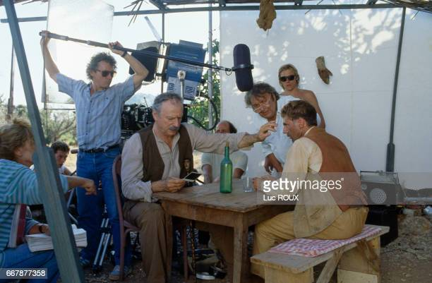 French actors Yves Montand and Daniel Auteuil on the set of the film Jean de Florette directed by Claude Berri
