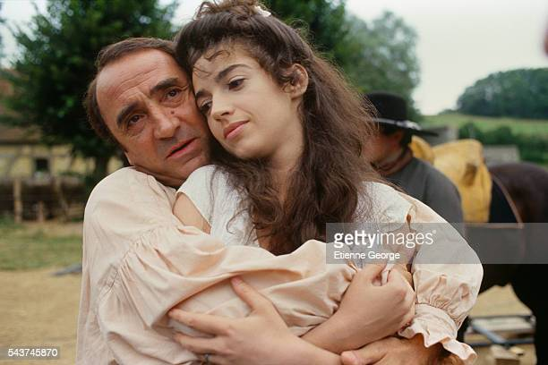 French actors Zabou and Claude Brasseur on the set of the film 'Dandin' directed by French director Roger Planchon and based on Moliere's play...