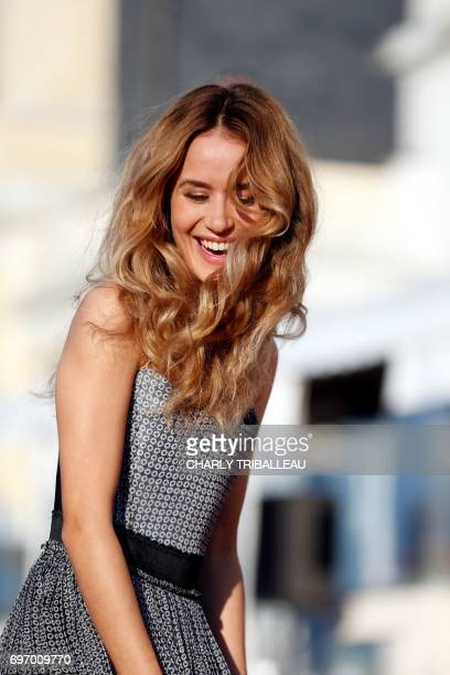 French actress Alice David poses on the red carpet on June 17 2017 during the Cabourg Romantic Film Festival in Cabourg northwestern France / AFP...
