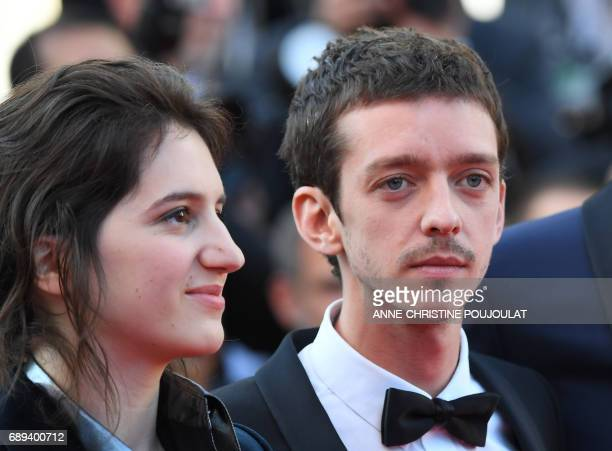 French actress Aloise Sauvage and Argentinian actor Nahuel Perez Biscayart arrive on May 28 2017 for the closing ceremony of the 70th edition of the...