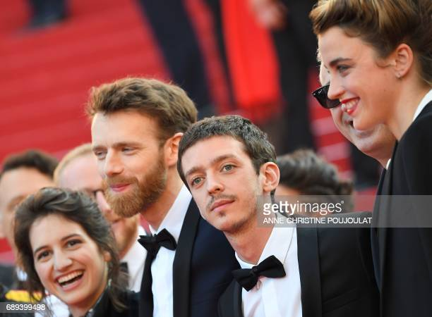 French actress Aloise Sauvage French actor Antoine Reinartz Argentinian actor Nahuel Perez Biscayart and French actress Adele Haenel arrive on May 28...