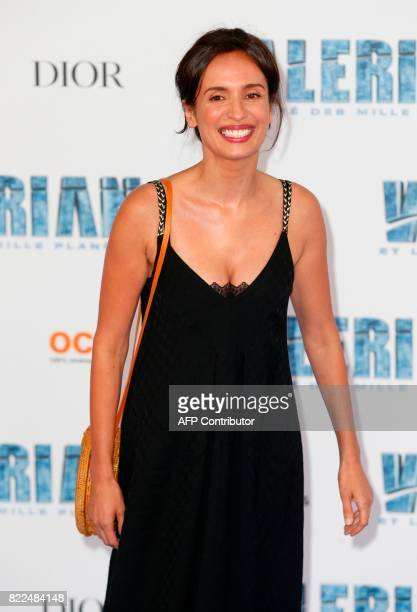 French actress Amelle Chahbi poses for a photograph upon arrival for the prepremiere of the film 'Valerian and The City of a Thousand Planets' in La...