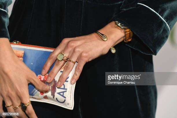 French actress Ana Girardot jewelry detail attends the 'Ce Qui Nous Lie' Paris Premiere at Cinema UGC Normandie on June 12 2017 in Paris France