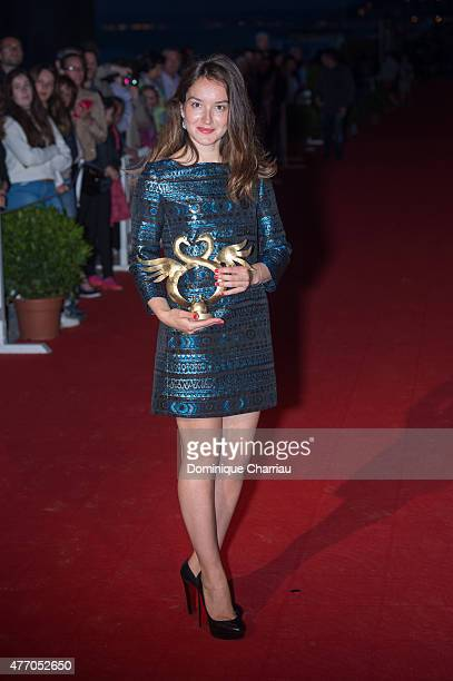 French actress Anais Demoustier awarded best actress during the closing ceremony of the 29th Cabourg Film Festival on June 13 2015 in Cabourg France