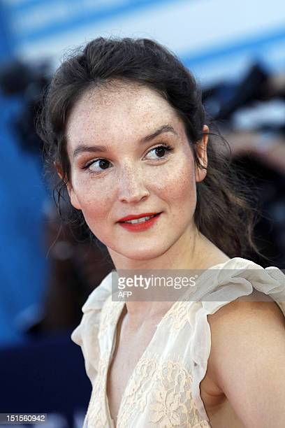 French actress Anais Demoustier poses on the red carpet as she arrives for the awarding ceremony of the 38th Deauville's US Film Festival on...