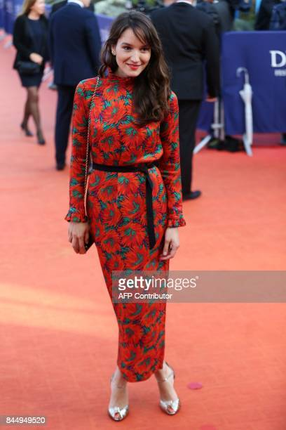 French actress Anais Demoustier poses on the red carpet before the closing ceremony of the 43rd Deauville US Film Festival on Setember 9 2017 in the...