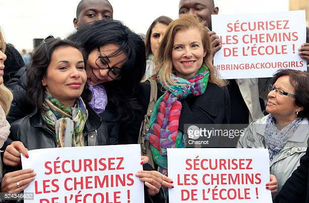 French actress and author Saida Jawad former French first lady Valerie Trierweiler and former French Junior Minister in charge of Expatriates and...