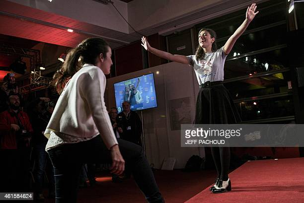 French actress and director Isabelle Vitari and French actress and director Vanessa Guide pose during a photocall at the 18th international comedy...