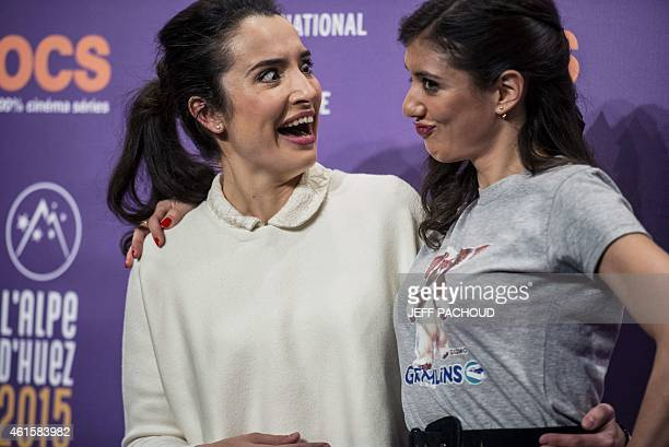 French actress and director Isabelle Vitari poses with French actress Vanessa Guide during a photocall at the 18th international comedy film festival...