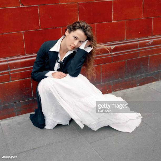 French actress and director Sophie Marceau in London. Clothes by Dries Van Noten, shoes by Dior.