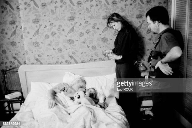 French actress and director Sophie Marceau on the set of her film Parlezmoi d'Amour with French actor Niels Arestrup
