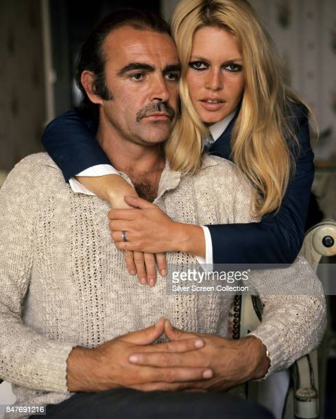 French actress and sex symbol Brigitte Bardot and British actor Sean Connery pose for a publicity shot during their first meeting in France before...