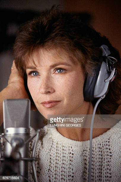 French actress and singer Marlene Jobert in the recording studio