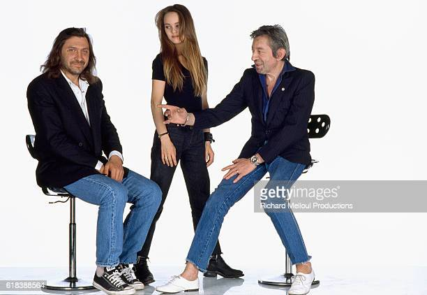 French actress and singer Vanessa Paradis stands between French composer Franck Langolff and French actor and composer Serve Gainsbourg