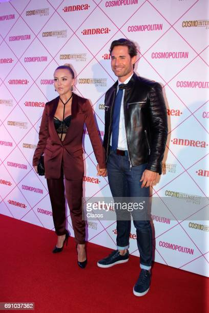 French actress Angelique Boyer poses with Sebastian Rulli during the Cosmo Fashion Night Red Carpet on May 30 2017 in Mexico City Mexico