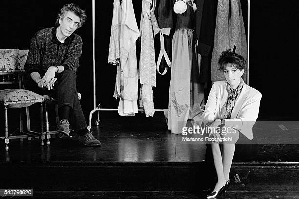 French actress Anémone and actor Gerard Darmon perform on stage at the Splendid Theater in the play Un Caprice by Alfred de Musset and On Purge Bébé by Georges Feydeau.