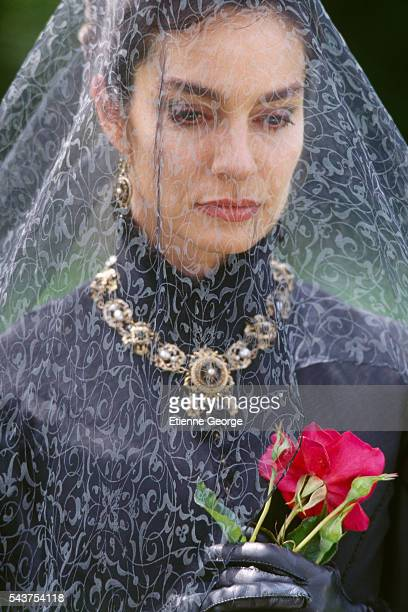 French actress Anne Parillaud on the film set of 'The Man in the Iron Mask' directed by American director Randall Wallace and based on the novels...