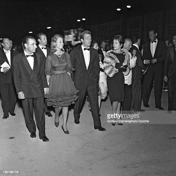French actress Annie Girardot at the Venice Festival with her husband Renato Salvatori Venice 1962