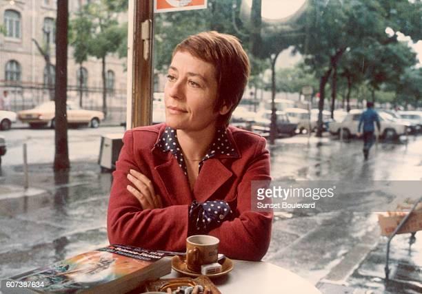 French actress Annie Girardot on the set of La clé sur la porte directed by Yves Boisset