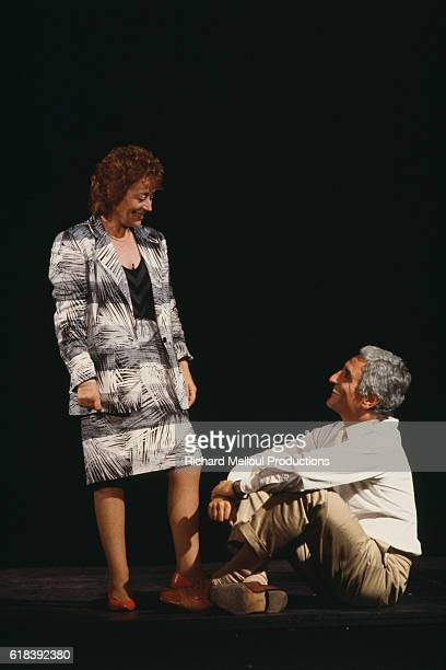 French actress Annie Girardot rehearses her new show Marguerite et les Autres Une Vie sans Entracte directed by Bob Decout and written by Dabadie