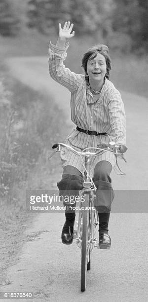 French Actress Annie Girardot Rides a Bicycle