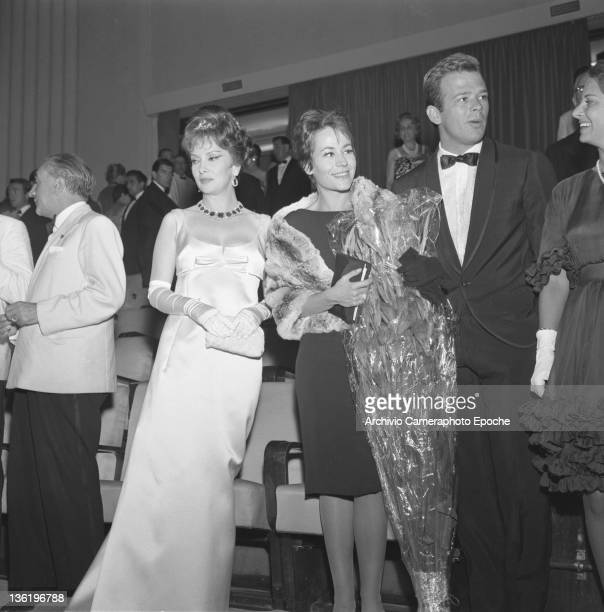 French actress Annie Girardot with Gina Lollobrigida and Renato Salvatori Venice Movie Festival Venice 1962