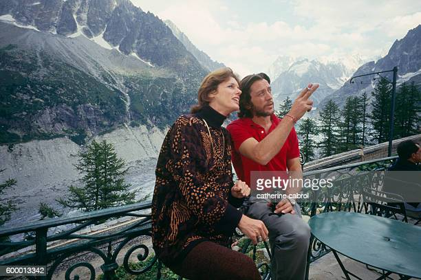 French actress Anny Duperey and French actor and director Bernard Giraudeau on the set of Giraudeau's television movie La Face de L'Ogre