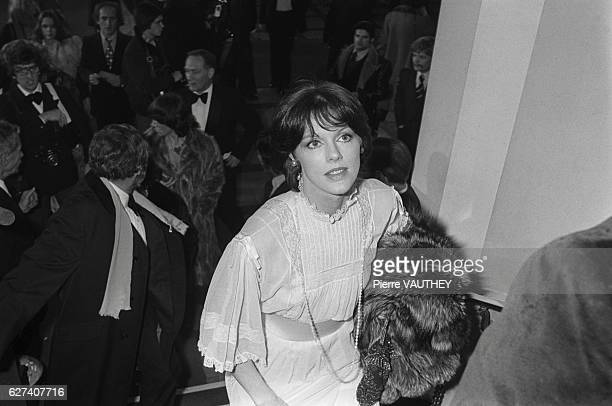 French actress Anny Duperey ascends a staircase during the 1978 Cesar Awards The awards ceremonies were held at Theatre de l'Empire in Paris