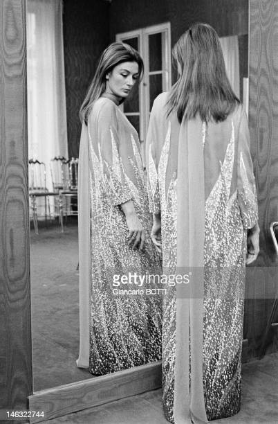 French actress Anouk Aimee at Pierre Cardin's shop during April 1967 ParisFrance
